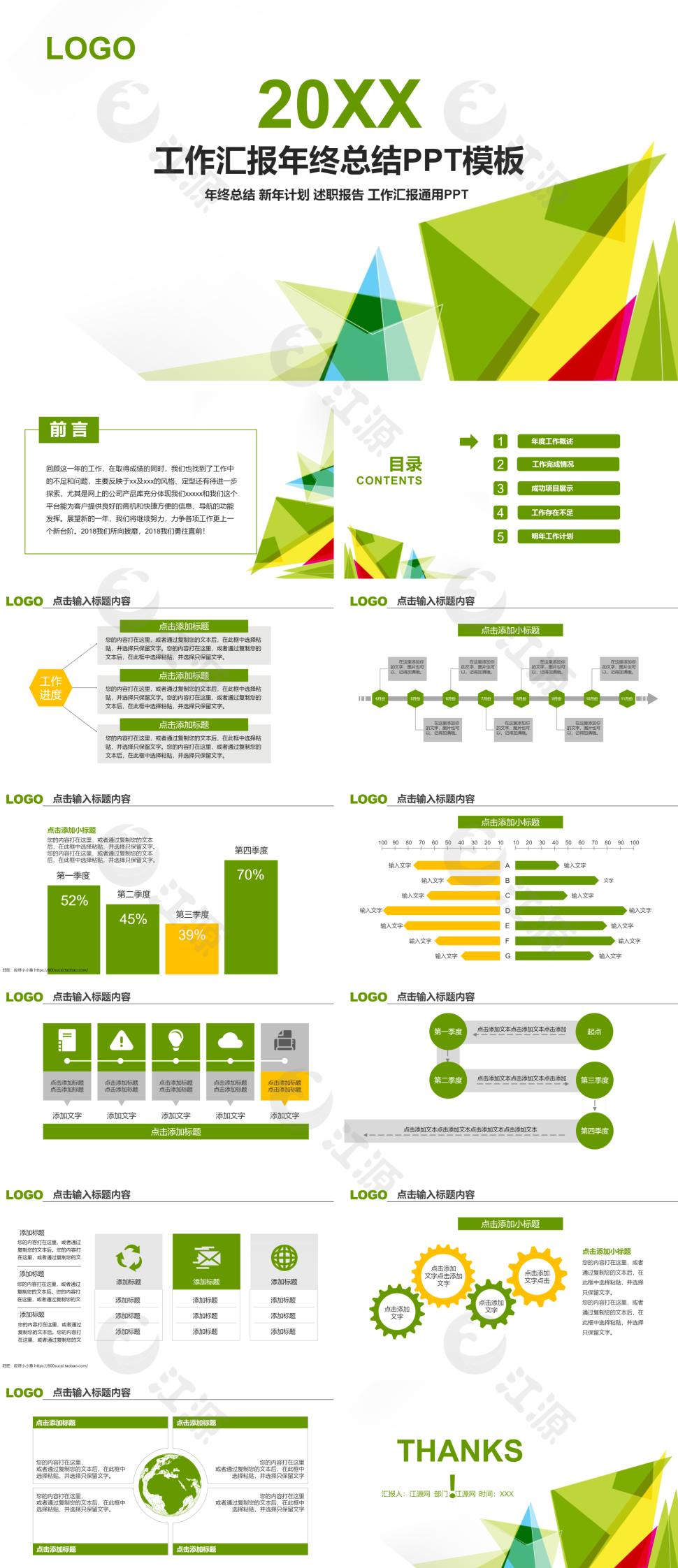 绿色扁平化工作汇报年终总结PPT模板