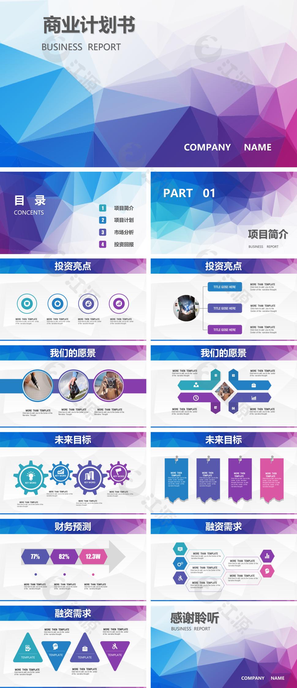 蓝色小清新风金融投资创业融资ppt模板