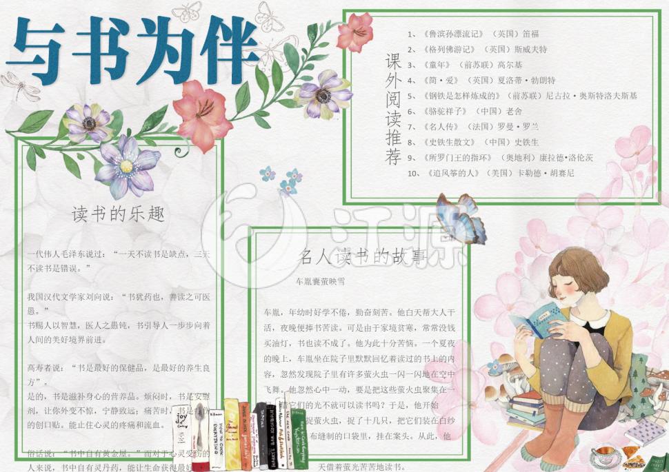 清新水彩手绘风学生阅读小报模板