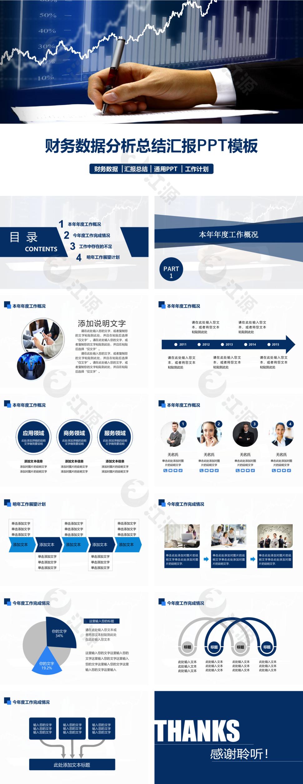 蓝色商务风金融投资财务总结汇报ppt模板