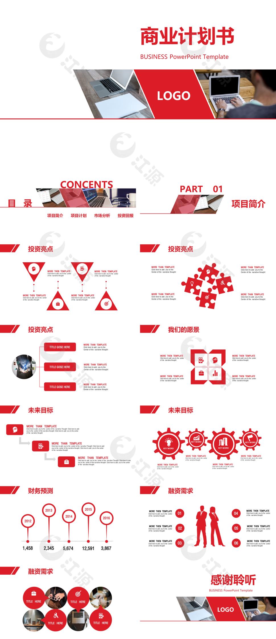 红色简约风商业计划书ppt模板