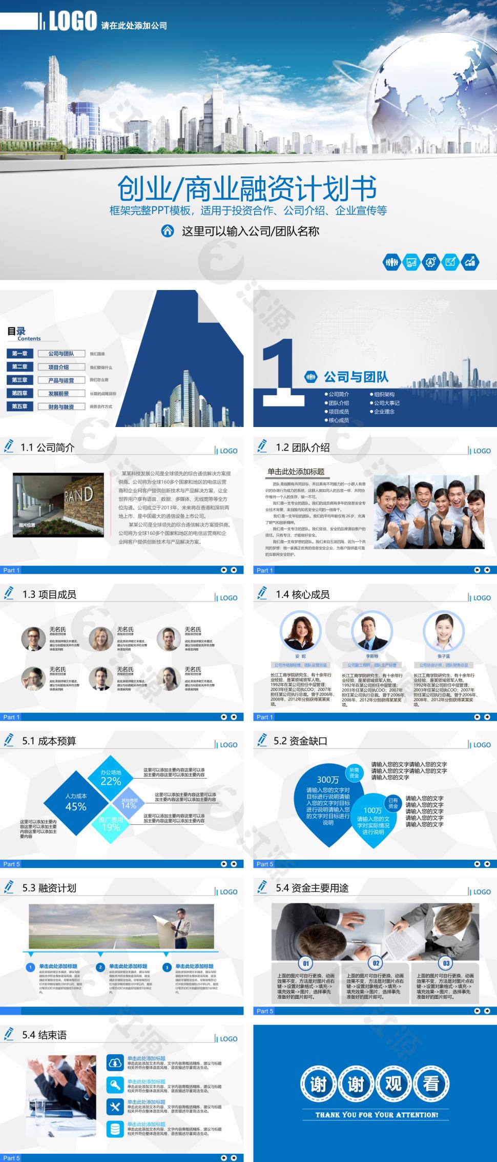 蓝色商务风商业计划书 ppt模板