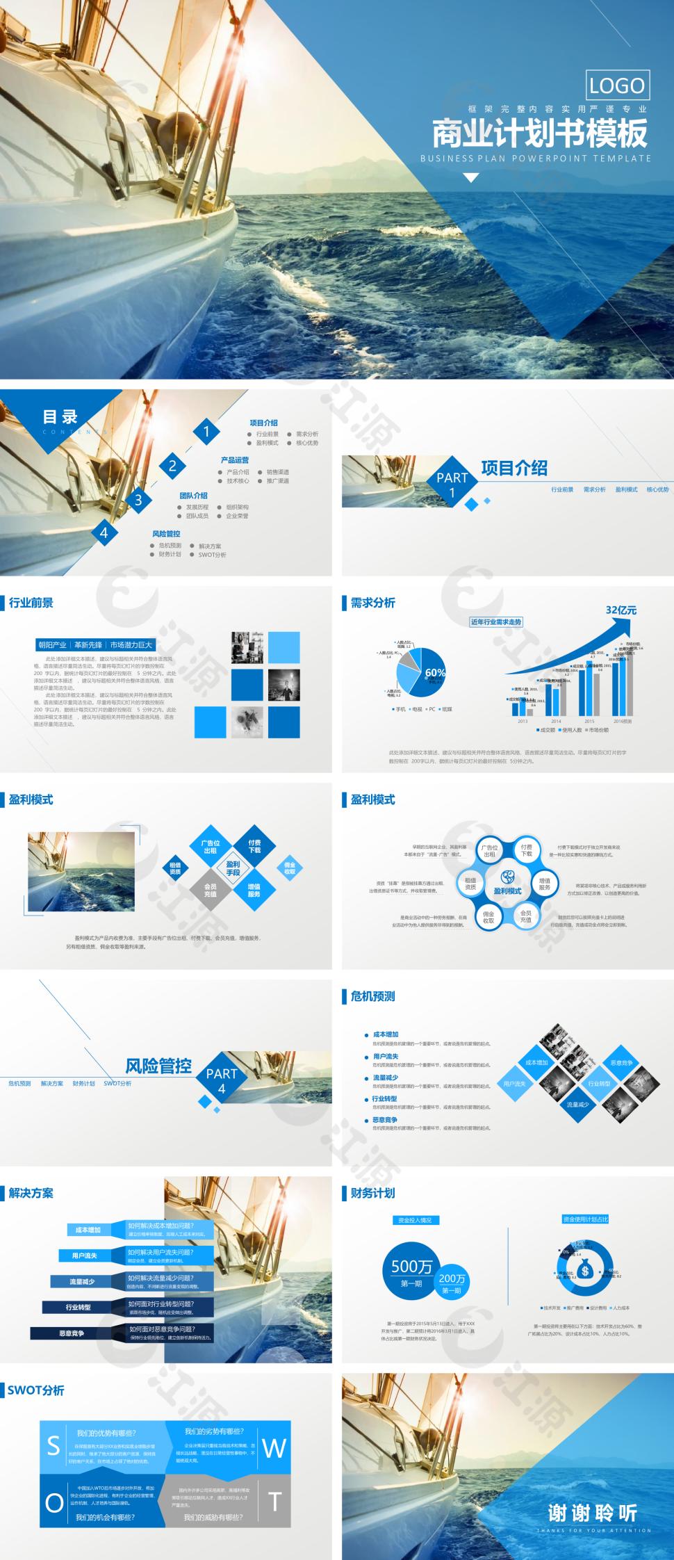 蓝色商务风金融投资商业计划书